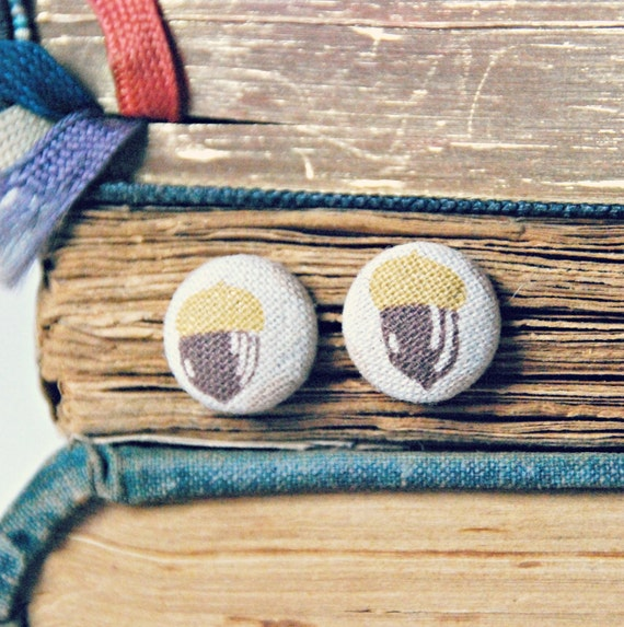 Woodland Acorn Button Earrings - Waldorf Post Earrings Nature Forest