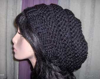 Womens Knit Hat Black Slouchy Hat Beehive Hat Knit Beehive Womens Oversized Slouchy Women Slouchy Tam Hand Knit Beehive Slouchy Hat Handmade