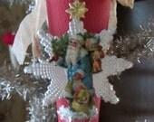 Beautiful Paper Mache Cornucopia with Antique Die Cut Santa and Vintage Dresden and Trims