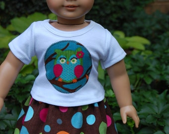 American Girl Doll clothes /  18 inch doll clothes - Cute Fall Owl Skirt outfit