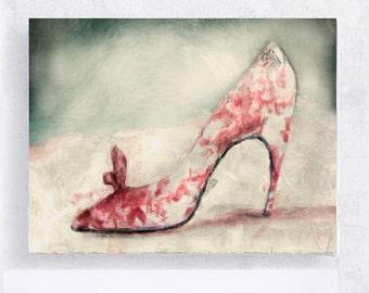 Shoe Art - Fashion Art - Still Life - HIgh Heel Print - Vintage Classic Pink Heel - 5x7 Canvas Print on Art Block - Women - Dressing Room