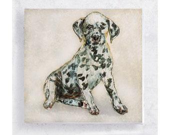 Dog Art - Dalmatian Puppy - Cedric - Canvas Print on 5x5 Wood Frame -  Dog Portrait - Kids Wall Art - Home Decor