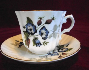 Royal Grafton Blue Floral Cup and Saucer, Vintage, PM575
