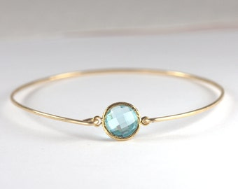 March Birthstone Aquamarine Quartz and Gold Filled Bangle Bracelet, Gold Bracelet, Aquamarine Bangle Bracelet, Aquamarine and Gold Bracelet