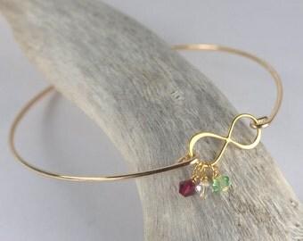 Swarovski Birthstone Gold Infinity Bangle Bracelet, Gold Bracelet, Gold Bangle Bracelet, Infinity Bracelet, Infinity Gold Bracelet [#827]