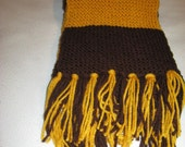 RESERVED for Andorfer4-Handknitted Team/School Scarf - Brown and Gold