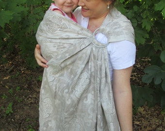 Linen Ring Sling Baby Sling Carrier - Natural Jacquard - 2 tone - DVD included