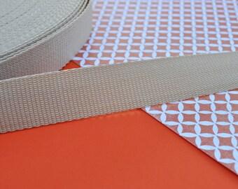 3 yards of 1 inch Nylon Webbing in Light Khaki (Medium Weight)