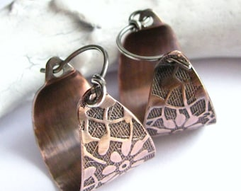 Small Copper Hoop Earrings Flower Pattern Sterling Silver And Copper Mixed Metal Contemporary Basket Hoops