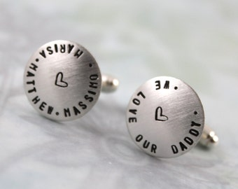 Inspirational, Sterling silver cufflinks, dad gift with names cufflinks, personalized cuff links, mens personalized cufflinks