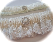 Wedding Garter Set in Alencon Beaded Lace with Pearl and Rhinestones Cabochon and Rhinestone Flowerette Tossing Garter