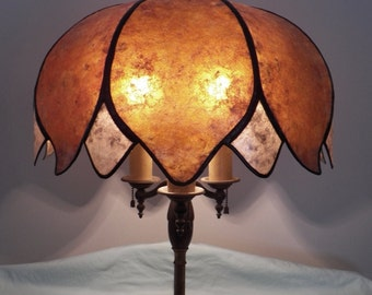 Lotus Flower Mica Shade For Your Antique Vintage Table Lamp