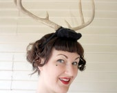 Deer Antler Headband - black 2 with natural antlers - headdress head dress head band