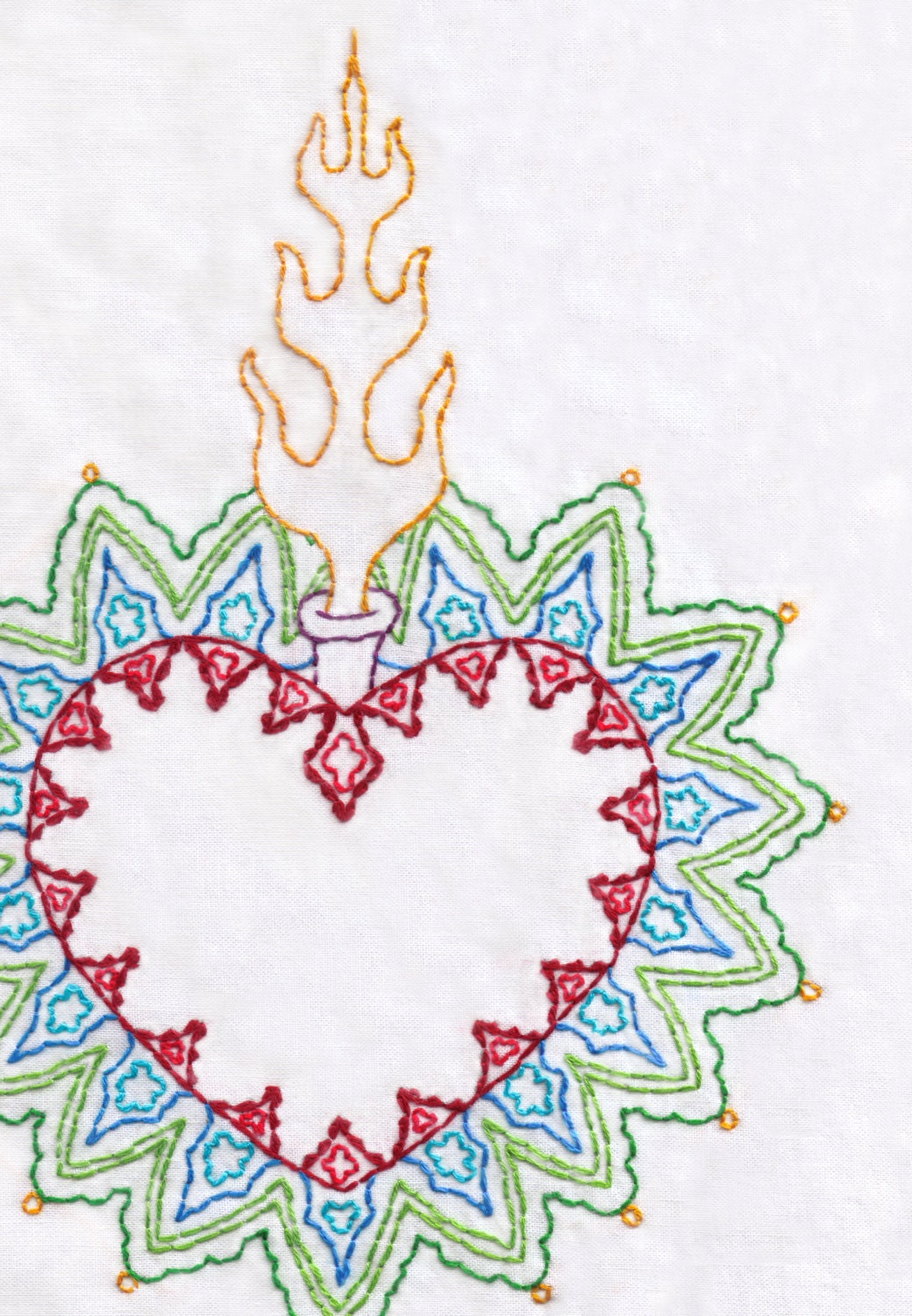 Heart Hand Embroidery Pattern PDF Sacred Heart Love