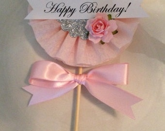 Beautiful Shabby Chic Happy Birthday Wand for Birthday Decoration or Cake Topper