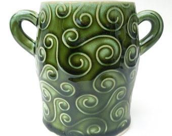 Green Textured Swirl Handmade Ceramic Pottery Sugar Jar Flower Vase