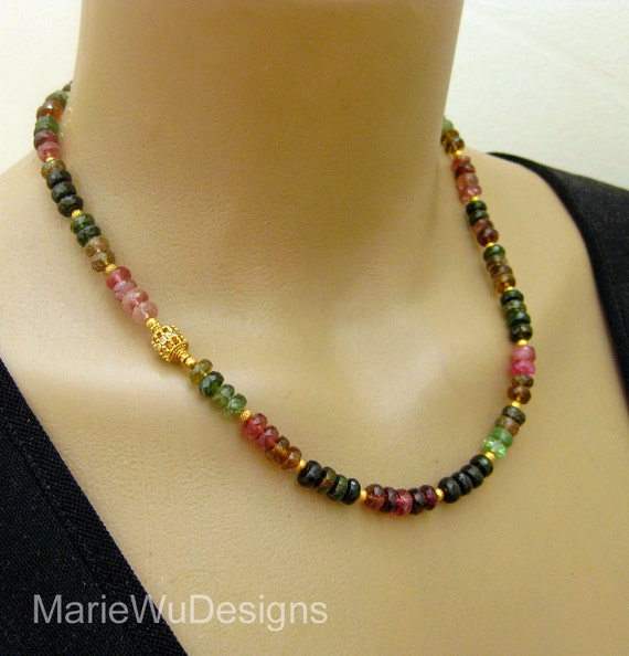 Reserved for Dorothy-Tourmaline-Diamonds-18k 22k Solid Gold-One Of A Kind Necklace