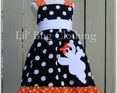 Custom Boutique Black White Orange Polka Dot Ghost Halloween Girls Jumper Dress