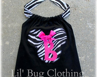 Custom Boutique Zebra Pink Minnie Personalized  Halter Top size 12 18 24 2t 3t 4t 5t 6 7 8 9 10 girl