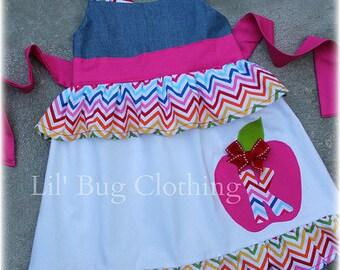 Back To School Custom Boutique Clothing Girl Rainbow Denim Chevron Personalized Jumper Dress