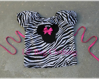 Custom Boutique Zebra  Mininie Peasant Top size 12 18 24 2t 3t 4t 5t 6 7
