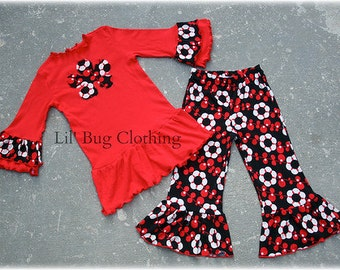 Back To School Girl Outfit, Red Black Floral Ruffled Pant Outfit, Girls Holiday Outfit, Girls Fall Winter Outfit, Girl Clothes
