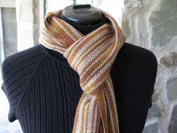 Hand Woven Scarf, Silver Birch Trees in Autumn, Tencel HandWoven Scarf
