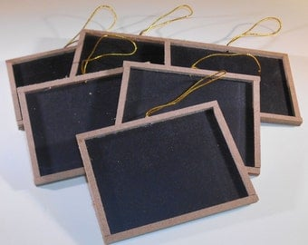 "6 Mini Chalkboards with Wood Frame 3"" x 4"" Blackboard"