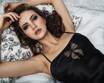 SALE, size medium M - Jacqueline silk slip- black slip in bias-cut satin with lace inset, bow lace applique, black lingerie luxury gifts