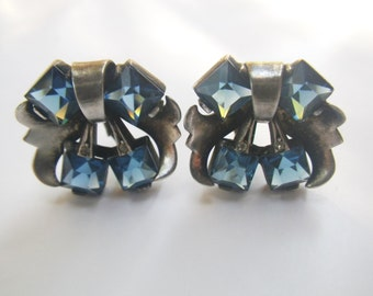 Sterling Earrings Vintage 40s BLue Crystals Clip On *