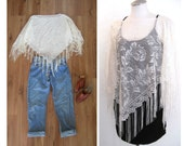 vintage 60s Poncho / Crochet Lace Top /  Fringe and Lace Shawl / Cream