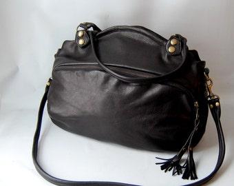 SP12 leather bag in black - antique brass hardware