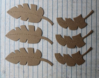 6 piece bare chipboard die cuts jungle leaf diecuts 2 sizes 3 each