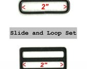 "10 SETS - 2"" - Wide Mouth METAL Slide and Split Loop - Nickel Plate or BLACK Finish"