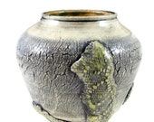 """Large Crackled Art Vase """"Lost Continents"""" - Handmade Clay Pottery - Wheel Thrown Stoneware Centerpiece - Ready to Ship"""
