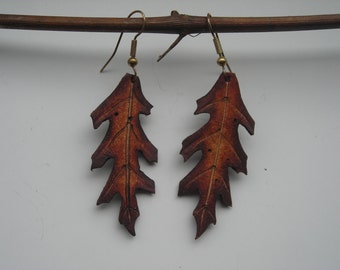 leather Pin Oak earings