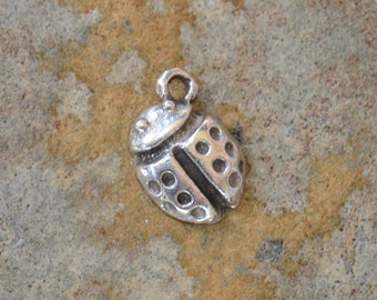 4 Pewter Lady Bug Charms 11 x 7mm
