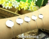 10pcs Silver Bangle Bracelet With 12mm / 14mm / 16mm / 18mm/ 20mm Round Cameo Tray Setting
