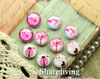 10pcs 12mm Mixed Handmade Photo Glass Cabochon / Wooden Cabochon  -- MCH002S