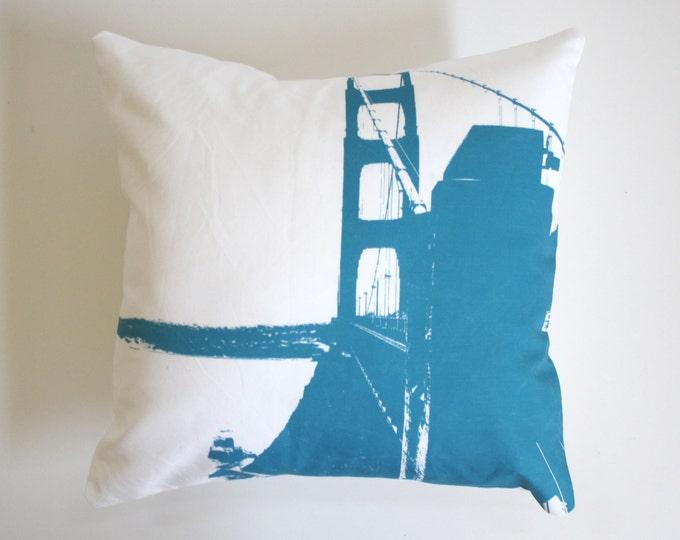SALE - Modern Golden Gate Bridge Pillow - San Francisco Pillow - Teal and White Golden Gate Bridge Pillow