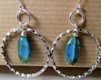 Blue, Green, Brown Czech Glass Hoops Sterling Silver Earrings