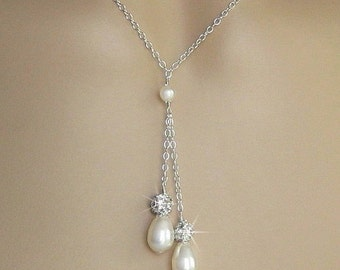 Pearl Necklace - Pearl and Crystal Rhinestone Fireball Double Pearl Drop Wedding Necklace in White or Ivory - Wedding Jewelry by JaniceMarie