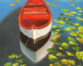 Boat painting 39 18x24 inch original landscape impressionistic oil painting by Roz