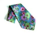 1960s Vintage Carnaby Street Necktie Mod Wide Tie Neon Flower Power Psychedelic Accessories London Hippie Boho