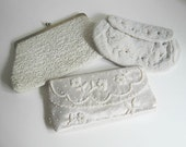 3 Vintage Purses White Beaded Formal Clutch Evening Bag Costume Prom