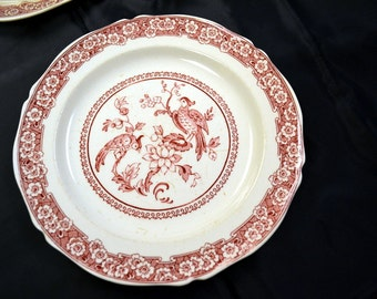 Vintage Red and White Transfer Ware Plate Royal Venton Ware Carmen