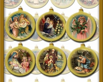 Set of 16 Christmas Vintage Art Nativity Bulbs/Ornaments/Tags -INSTaNT DOWNLoAD- Printable Collage sheet JPG Digital File