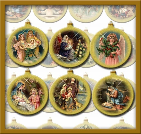 Vintage Religious Nativity Christmas Ornament: Set Of 16 Christmas Vintage Art Nativity Bulbs/Ornaments/Tags