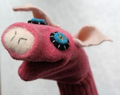 PIG upcycled hand puppet.  made to order.