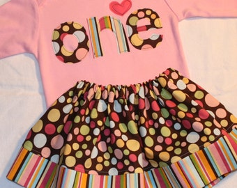 Girls First Birthday Pink and Brown Polkadot Set - 12-18 month ONE birthday long sleeve shirt and matching skirt - LAST ONE